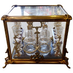 Glass and Gilded Bronze Liquor Cabinet and Baccarat Glasses Bamboo Style, France