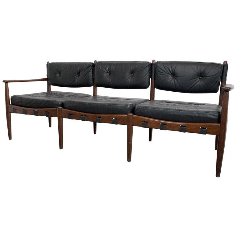 Three-Seat Sofa in Teak and Leather by Eric Merthen, 1960s, Scandinavian Modern