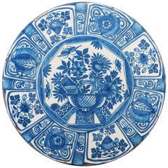 Blue and White Dutch Delft Charger with 'Wanli Decoration'