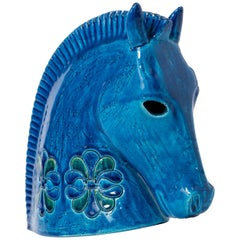 Ceramic Sculpture of a Horse's Head by Aldo Londi for Bitossi, Italy, circa 1950