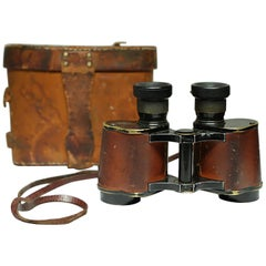 World War II Era Leather and Brass Binoculars and Case, circa 1940s