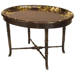 English Victorian Papier Mâché Oval Dark Maroon Tray Top Coffee Table