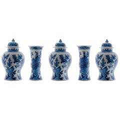 Garniture of Three Vases Cover and Two Beaker Vases Delft
