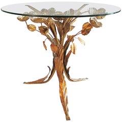 Midcentury Hollywood Regency Gilt Metal Leaf and Flower Side Table by Hans Kögl