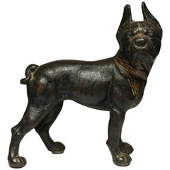 Very Unusual Black Cast Iron Boston Terrier by Hubley, circa 1930s