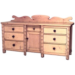 English Country '19th-20th Century' Stripped Pine Faux Bamboo Trimmed Sideboard