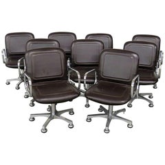Set of Nine Mid-Century Modern Office Chairs