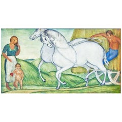 """Haywagon,"" Charming Art Deco-WPA Era Painting with Folk Art Influence"