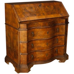 Venetian Bureau in Walnut, Mahogany and Burl Walnut from 20th Century
