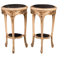 French Carved Side Table Marble Top in the Louis Quinze Style
