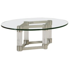 Chunky Lucite and Aluminium Coffee Table, 1970s