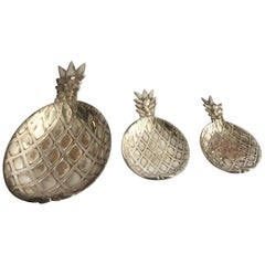 Set of Three Silver Plated Pineapple Trays, Italy, 1970s