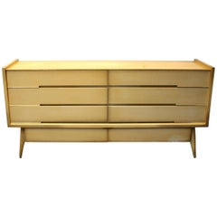 Large 1960s Sculptural Dresser, Maple with Brass Pulls