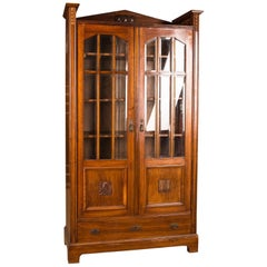 Antique Art Nouveau Display Case Bookcase Cabinet, circa 1895