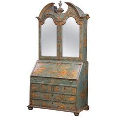 18th Century Italian Hand Painted Secretary Bookcase with Chinoiserie Decor