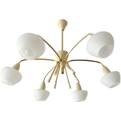 Large Stilnovo Style Six Lights Sputnik Glass Brass Chandelier, 1960s