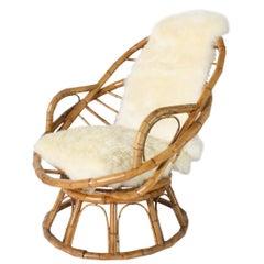 Rattan Chair with Original Sheep Skin Insert, circa 1970