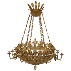 Fire Guilded Bronze Eighteen-Lights Russian Empire Chandelier