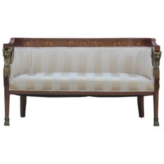 19th Century French Empire Settee with Inlaid Marquetry & Bronze Lion Heads