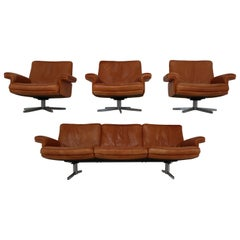 De Sede  Armchairs and Sofa and in Soft Cognac Aniline Leather, Model DS 35