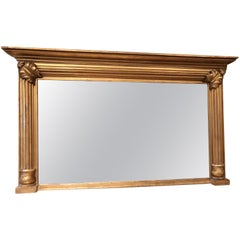 19th Century Large Giltwood Classical Rectangular Overmantel Mirror