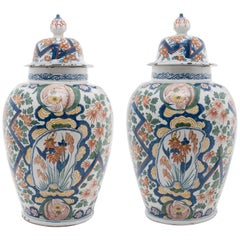 Pair of Polychrome Vases in Dutch Delftware