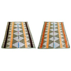 1979 Wool Rugs Missoni Style Brown Orange Yellow Set of Two, Italy