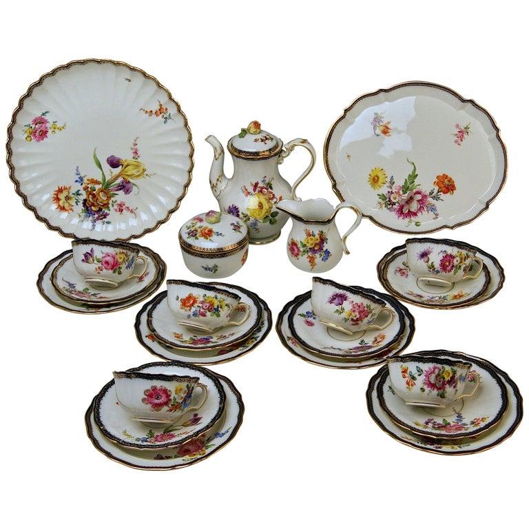 Meissen Tea Set Flower Bouquet Nr. 111120 Six Persons Pfeiffer Period, 1924-1934