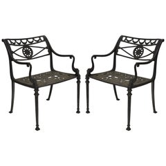 Neoclassical Style Dolphin Patio Armchairs Cast Aluminium Molla Attributed, Pair