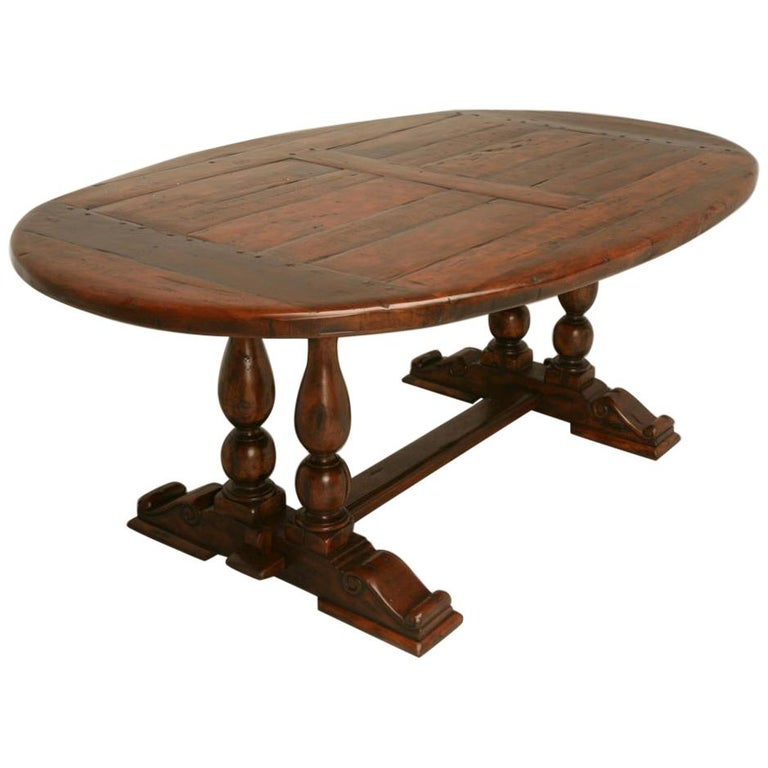 Reclaimed Hardwood Oval Dining Table For Sale