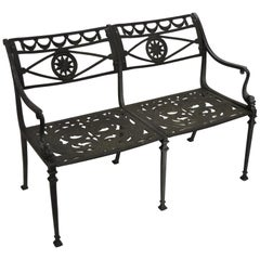 Neoclassical Style Dolphin Patio Double Settee Bench Attributed to Molla