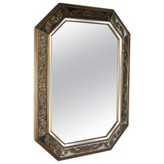 French Églomisé Mirror Frame Mirror with Clear Mirror Centre, circa 1940