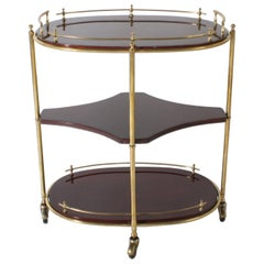 Oval Mahogany Drinks Cart with Brass Details, circa 1950