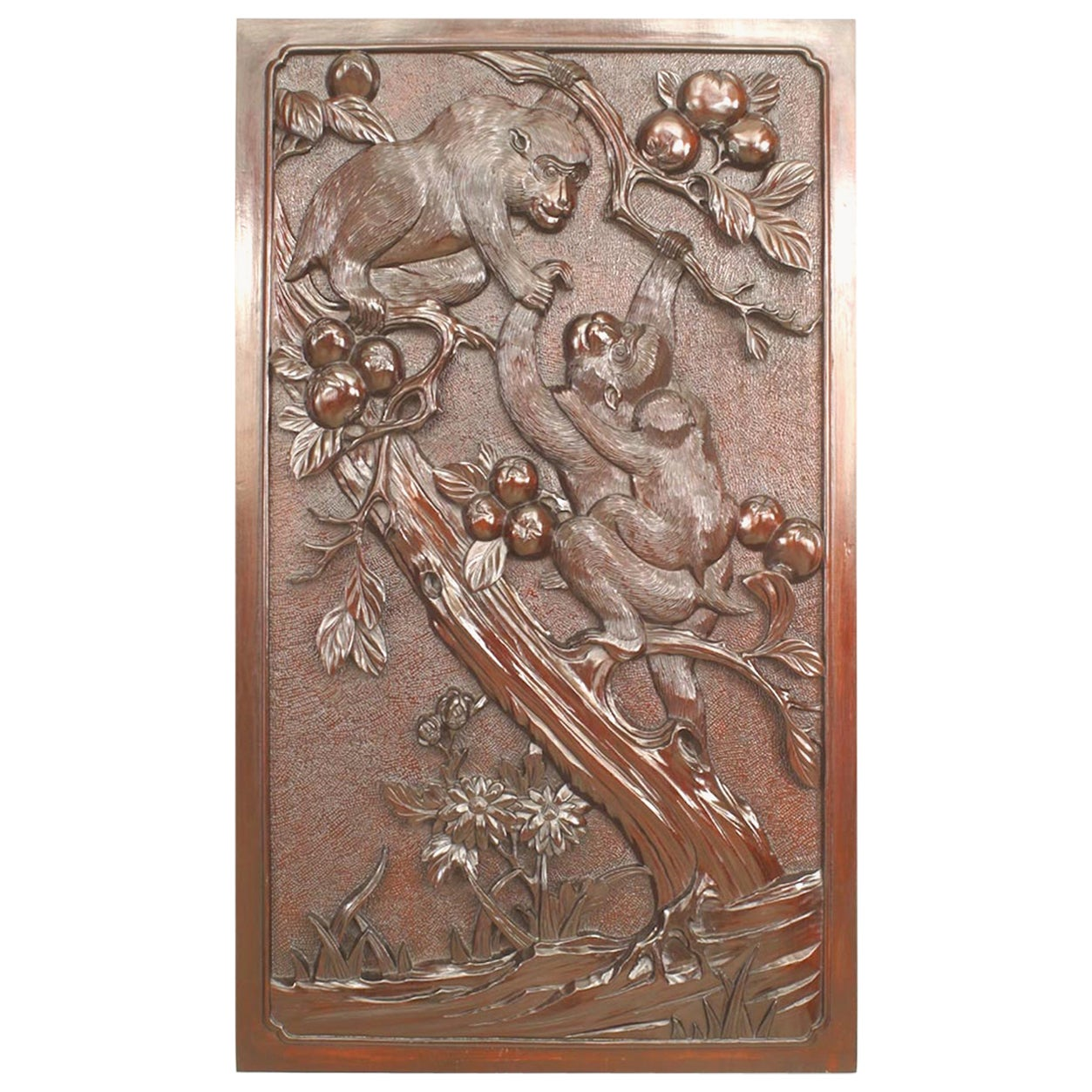Asian Chinese Style '19th Century' Carved Wall Plaque