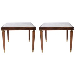 Pair of Palissandre Side Tables with Antique Mirror Tops, circa 1920
