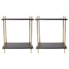 Pair of Two-Tier Brass and Leather Side Tables, circa 1950