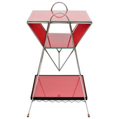 Mid-Century Modern Chrome and Red Scoubidou Side Table, France, 1950s