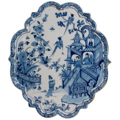 Oval Chinoiserie Plaque in Blue and White Dutch Delftware