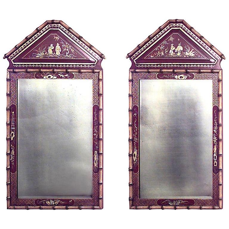English Regency Style Faux Bamboo Wall Mirror