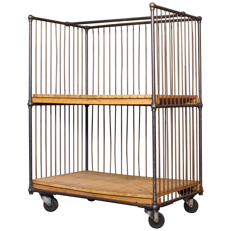 Vintage Industrial Rolling Bindery Cart - Wood and Steel Two-Tier