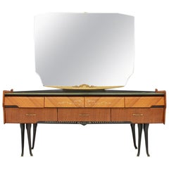 Italian Dressing Sideboard Vanity with Mirror and Horse Legs, 1959