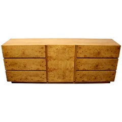 Milo Baughman Style Mid-Century Modern Burl Wood Dresser for Lane Furniture
