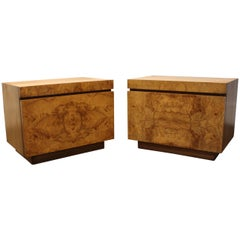 Lane Furniture Milo Baughman Style Mid Century Modern Burl Wood Nightstands