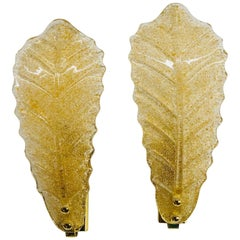 Murano Glass Leaf Wall Sconces