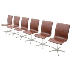 Arne Jacobsen Oxford Chairs by Fritz Hansen Denmark, Set of Six