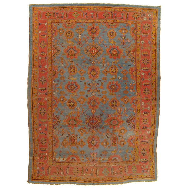 Palace-Size Antique Oushak Carpet, Turkish Handmade