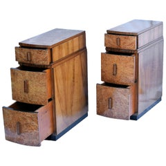 English Art Deco Blonde Walnut Bedside Cabinets