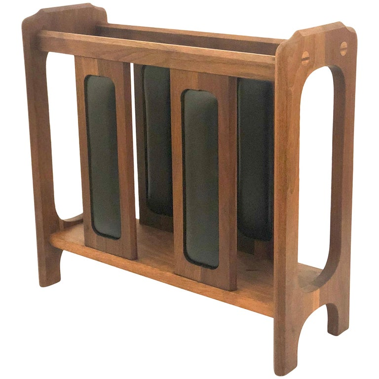 American Midcentury Solid Walnut Magazine Rack in the Style of Umanoff For Sale