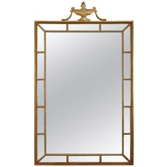 French Neoclassical Giltwood Parclose Wall Mirror with Urn Form Finial