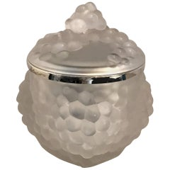 Wonderful Lalique Frosted Glass Grape Cluster Antilles Ice Bucket Domed Top Lid